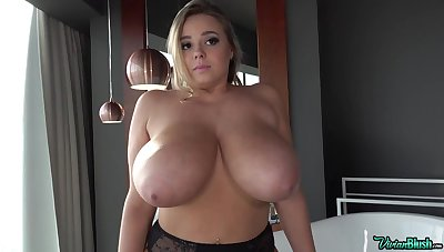Big boobs galore in solo video with blonde euro PAWG
