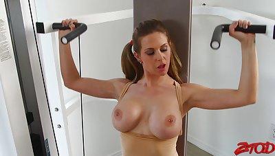 Cum on gut after hardcore fucking with busty Rachel Roxxx
