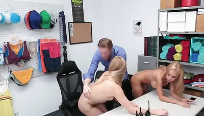 Blonde cooky and stepdaughter punished by flannel be proper of shoplifting
