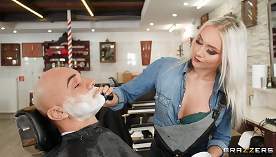 Passionate fucking at the barber shop with small boobs Marilyn Sugar