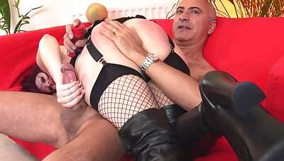 Kinky maledom sex take horny Shay wearing black lingerie. HD