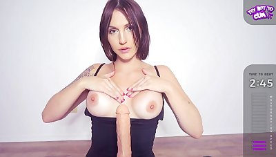 Inked horny MILF plays with fake penis