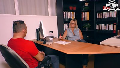German mature blonde enchase fuck in office with saggy tits