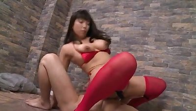 Nozomi Mikimoto wearing stockings riding a dick beside cowgirl