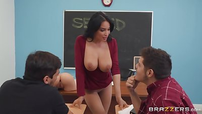 Sexy MILF is poor teacher Anissa Kate who wanna get her suspension fucked hard