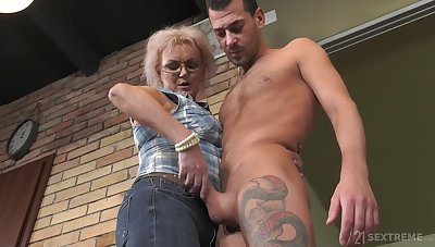 Dirty adult land lady Elvira is still rather well-disposed at riding strong cock
