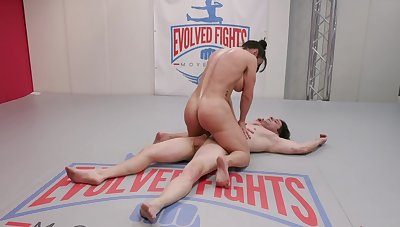 Lord it over Brandi Mae holds the brush own during sexy wrestling plaza a male