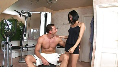Brunette mature wants this muscular man's dick fully inside her