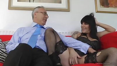 Mature brunette with big boobs is sucking a rock hard dick before plus after riding it