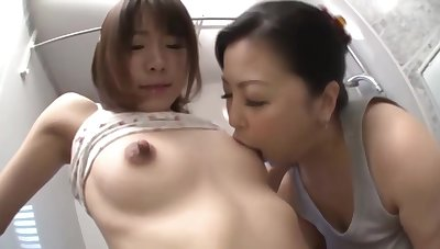Japanese Step Mother and Step Lass Have Lesbian Sex in Go to the powder-room