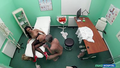 MILF enjoys the doctor's huge dick with hubby waiting her outside