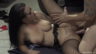 Busty brunette gives nasty head before a wild shag