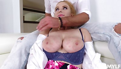 Hot redheaded MILF with big tits loves having her beloved pussy fingered