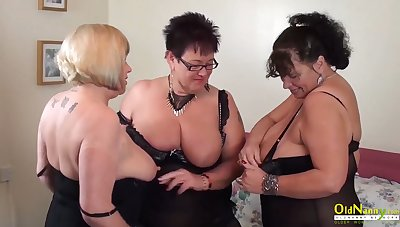 Big natural bowels be worthwhile for mature women in threesome lesbian action including pussy masturbation