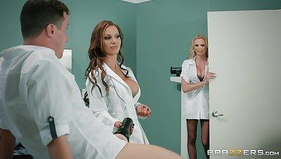 Premium nurses are enjoying a enticing big dick in a hot threesome