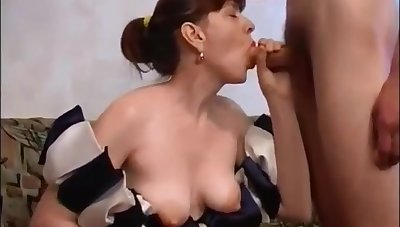 Russian Mom With Victorian Pussy Fucks Son On Couch: Mthrfkr