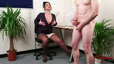Fat secretary with fake lips flashes their way boobs with reference to their way boss
