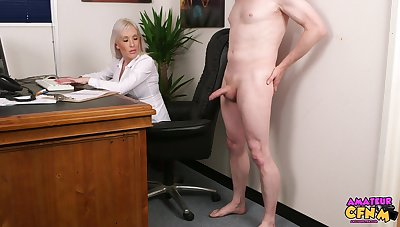 Handsome blonde mature Lexi Ryder takes his cock in her mouth