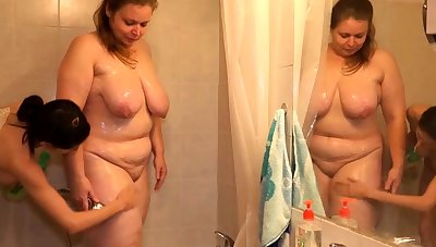 Teen coupled with granny share team a few cock