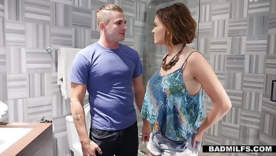 Sexy GF's stepmom Krissy Lynn gives a blowjob in a toilet coupled with offers herself doggy style