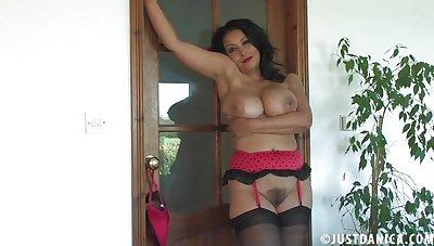 British slut Danica Collins in red lingerie and disastrous stockings