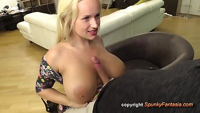 Titjob and hardcore with buxom blonde Czech mom Angel Wicky