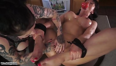 Fava Beans and Nice Amber - tattooed mature gagged concerning lesbian femdom