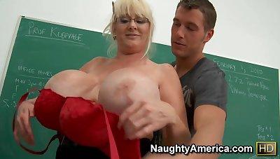 My Mature Sex Teacher - Big fake tits anent the classroom hardcore